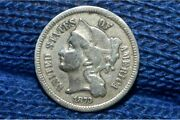 1873 Three Cent Nickel 3c Closed 3 Vf Low Mintage Variety Only 390k Minted