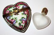 Limoges France Box Sevres Heart And Perfume Bottle Flowers Roses Anniversary