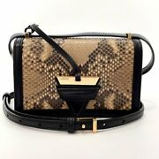 Loewe Shoulder Bag 302.96.p39 Barcelona Small Python/leather Beige Women And039s