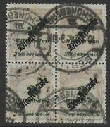 German Reich Stamps 1923 Mi Official 84 Bloc 4 Signed Infla Canc Cat Value 700