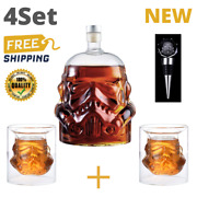 Glass Set Storm Trooper Helmet Whiskey Decanter Wine Set Crystal Cup Gift Cool