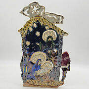 Blue Sky Clayworks Heather Goldminc Miracle Of The Season Nativity Candle Holder