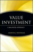 Value Investing A Balanced Approach Hardcover By Whitman Martin J. Garst...