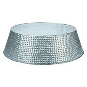 Hammered Metal Galvanized Round Tree Collar Base 27 Silver Holiday Farmhouse