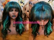Peakaboo Blue And Teal Black Wig With Bangs Remy Human Hair Ready To Ship Now
