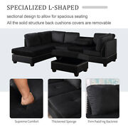 Reversible Sectional Sofa Bed Couch Set Storage Ottoman Soft Velvet Upholstered