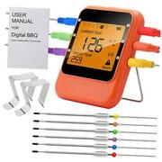 Bbq Meat Thermometer Bluetooth Remote Cooking Thermometer Digital Oven Orange