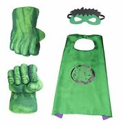 Hulk Hands Fists Costume With Green Cape And Eye-mask – Complete Set Of Hulk
