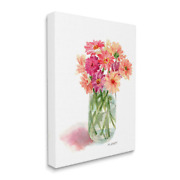 Unframed Nature Wall Art Canvas Pink Daisy Watercolor Bouquet In Canning Jar