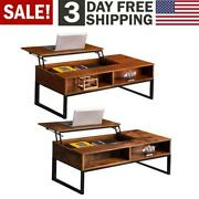 Coffee Table Hidden Storage Cabinet Compartment Longlasting Brown Finish Lift-up