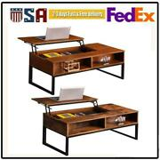 Lift-up Coffee Table Compartment Longlasting Brown Finish Hidden Storage Cabinet