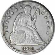 1869 Liberty Seated Silver Dollar Ef Uncertified 115