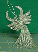 Clear Spun Glass Angel With Silver Glitter And Halo Christmas Tree Ornament Topper