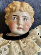 """Antique German 29"""" C1880 China Head Doll With Apple Cheeks Great Outfit"""