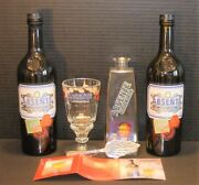 Absente Absinthe Refined Van Gogh Red Poppies Carafe 6 1/2 Glass Spoon Bottle X2