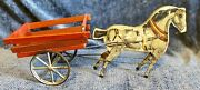 Antique German C1890 Lithographed Horse On Wheels With Cart Toy