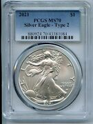 2021 American Silver Eagle Type 2 Pcgs Ms70 1 Coin Blue Label Jm092
