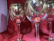 6 Bliekristall 24 Lead Crystal Gold Wine Glass Vintage Stems 24 Pbo Italy New