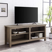 Walker Edison Wren Classic 4 Cubby Tv Stand For Tvs Up To 65 Inches, 58 Inch, Gr