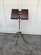 Antique Victorian Oak Wood And Cast Iron Book Stand Adjustable Lamble, New York