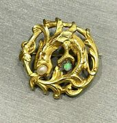 Antique Victorian 18k Yellow Gold And Pearl Opal Griffin Dragon Pin Brooch 6 Gram