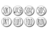 Set Of 8 Laundry Room Long Letters Cabinet Drawer Cabinet Knobs Pulls