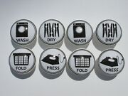 Vintage Laundry Room Wash, Dry, Fold, And Press Cabinet Drawer Knobs Set Of 8