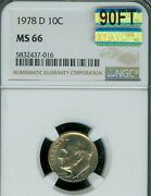 1978-d Roosevelt Dime Ngc Ms66 90ft 2nd Finest Mac Spotless 1,500 In Ft