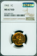 1962 Lincoln Cent Ngc Ms67 Rd Mac Finest Mac Spotless