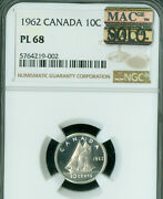 1962 Canada 10 Cents Ngc Pl68 Pq Solo Finest Grade Mac Spotless