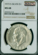 1973-s Eisenhower Silver Dollar Ngc Ms-68 Pq 2nd Finest Mac Spotless 2 Finer