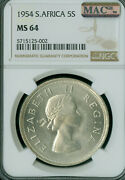 1954 South Africa Silver 5 Shillings Ngc Ms-64 Mac Spotless Very Rare