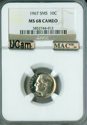 1967 Roosevelt Dime Ngc Mac Ms68 Sms Cameo Ucam Pq Finest Registry Spotless