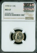 1990-d Roosevelt Dime Ngc Mac Ms67 90ft Pq Finest Rare Spotless 5,000 In Ft