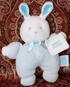 Eden Blue Waffle Knit Bunny Rattle Plush 7.5 Stuffed Toy Lovey Sweet Shakes Tag