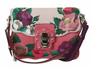 Dolce Andamp Gabbana Pink Roses Patch Leather Shoulder Borse Lucia Bag