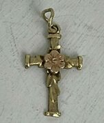 Vintage 14k Yellow And Rose Gold Cross Religious Pendant Childand039s Flower Leaves