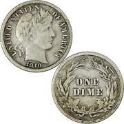 1910 S Barber Dime Vf Very Fine 90 Silver 10c Us Type Coin Collectible