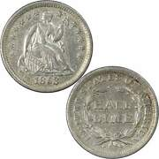 1853 No Arrows Seated Liberty Half Dime Au Details 90 Silver 5c Us Type Coin