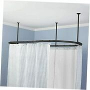 Luxury Oval Shower Curtain Rod Ceiling Support For Clawfoot Tub Freestanding