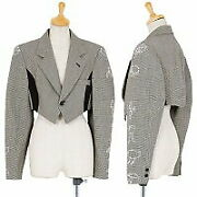 Comme Des Garcons Sleeve Bird Embroidery Hound Tooth Short Jacket Gray M Used