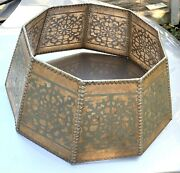 Large Antique Arts And Crafts Hexagonal 9 Panel Mica Floor Lamp Shade Scroll Nice