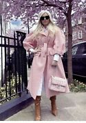 Simone Rocha X Handm Tinsel Detail Tweed Coat L - Light Pink Size Large Sold Out