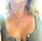 Antique Pendant Locket Sunflower Victorian Sterling Enamel Necklace With Chain