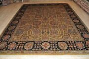 On Sale 8and039 X 10and039 Top Quality Handmade Wool Area Rug Hand Knotted Black And Gold