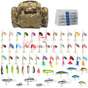 Storage Waterproof Fishing Tackle Bag With 60 Spinner Spoon Lures Set In 5 Boxes