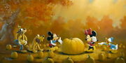 Disney Paintings Mickey Friends/pumpkin Harvest Limited To 50 Copies Canvas