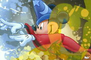 Disney Paintings Fantasia/sorcerer Mickey Limited To 195 Copies Canvas Zikre