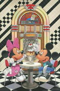 Disney Paintings Mickey Minnie/sunday Pho Two Limited To 195 Copies Canvas Zikre