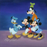 Disney Paintings Mickey Friends/ale To Donald Limited 195 Copies Canvas Zikre